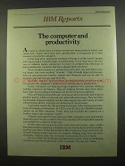 1974 IBM Computers Ad - The Computer and Productivity
