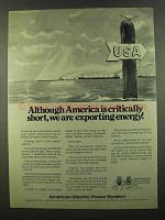 1974 American Electric Power Ad - Are Exporting Energy