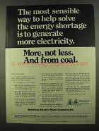 1974 American Electric Power Ad - More, Not Less