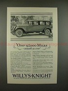 1927 Willys Knight Car Ad - Over 92,000 Miles, Smooth!!