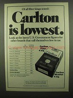 1974 Carlton Cigarettes Ad - Is Lowest