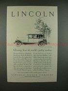 1928 Lincoln Two-Window Sedan Car Ad - NICE!!
