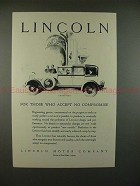 1928 Lincoln Cabriolet Car Ad - Accept No Compromise!!