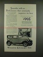 1928 Willys-Knight Standard Six Coach Car Ad - Smoother
