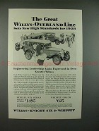 1928 Willys-Knight Car Ad - Sets New High Standards!!