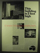 1974 Nikon F2 Camera Ad - This Building is 2 Feet High