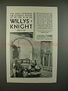 1930 Willys-Knight Great Six Sedan Car Ad - Powerful!!