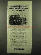 1974 Leica CL Camera Ad - Finest in The World