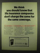 1974 Bankers Life Ad - Don't Charge The Same