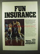 1974 Home Insurance Ad - Fun Insurance - NBA Hawks