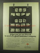 1974 Travelers Insurance Ad - You See 29 Teeth in Need