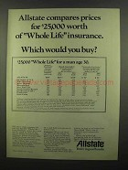 1974 Allstate Insurance Ad - Compares Prices
