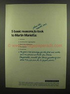 1974 Martin Marietta Ad - 5 Basic Reasons to Look