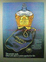 1974 Seagram's Crown Royal Ad - The Purple Sack