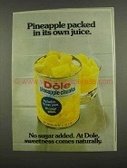 1974 Dole Pineapple Chunks Ad - Packed in Own Juice