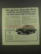 1974 Mercedes-Benz Car Ad - This Tip Worth $1400