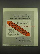 1974 Mumm Champagne Ad - You Can Still Buy the Finest