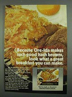 1974 Ore-Ida Hash Browns Ad - Great Breakfast