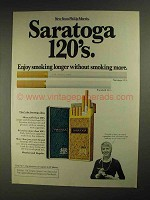 1975 Saratoga 120's Cigarettes Ad - Smoking Longer