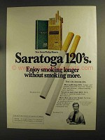 1975 Saratoga 120's Cigarettes Ad - Enjoy Longer