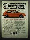 1975 Volkswagen Rabbit Ad - Detroit's Engineers