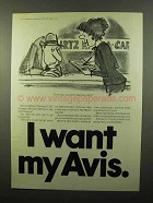 1975 Avis Car Rental Ad - I Want My Avis