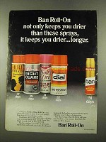 1975 Ban Roll-On Deodorant Ad - Keeps You Drier