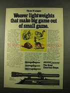 1975 Weaver V22, D4 and D6 Scopes Ad - Lightweights