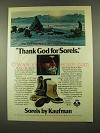 1975 Kaufman Sorels Boots Ad - Thank God For