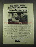 1975 CNA Continental Assurance Company Ad - Needs More
