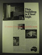 1975 Nikon F2 Camera Ad - This Building is 2 Feet High