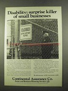 1975 Continental Assurance Ad - Disability