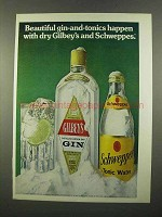 1975 Gilbey's Gin Ad - Beautiful Gin-and-Tonics