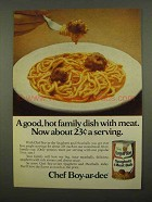 1975 Chef Boy-Ar-Dee Spaghetti and Meatballs Ad
