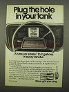 1975 Champion Spark Plugs Ad - Plug Hole in Your Tank