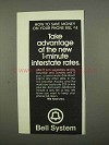 1975 Bell Telephone Ad - New 1-Minute Interstate Rates