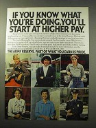 1977 U.S. Army Reserve Ad - Start at Higher Pay