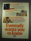 1977 Eveready Batteries Ad - Wants you To Know