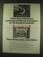 1977 Getty Unleaded Regular Gas Ad - Set of Problems