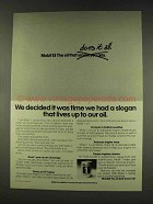 1977 Mobil 1 Oil Ad - Slogan Lives Up to Our Oil