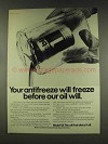 1977 Mobil 1 Oil Ad - Antifreeze Will Freeze Before
