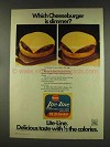 1977 Borden Lite-Line Cheese Ad - Which Cheeseburger?