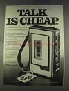 1977 Sony TC-44 Cassette Recorder Ad - Talk is Cheap