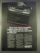 1977 Sony CF-580 Stereo Cassette System Ad - Sure