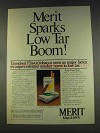 1977 Merit Cigarettes Ad - Sparks Low Tar Boom