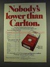 1977 Carlton Cigarettes Ad - Nobody's Lower Than
