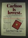 1977 Carlotn Cigarettes Ad - Carlton is Lowest