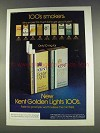 1977 Kent Golden Lights 100's Cigarettes Ad - This Much Tar