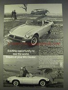 1977 MG MGB Car Ad - Exciting Opportunity to See World