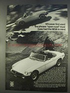1977 MG MGB Car Ad - The Phrase Open Road